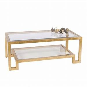 Worlds away winston gold leaf two tier coffee table with for Clear and gold coffee table