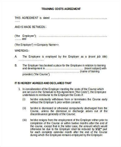 sample training agreement forms   documents