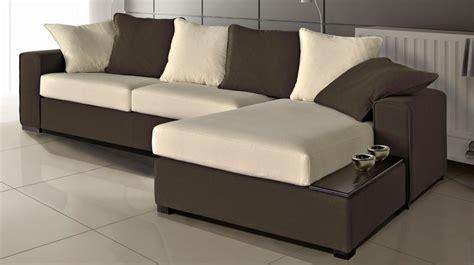 canapé d angle marron canapé d 39 angle en microfibre bicolore marron et blanc pas cher