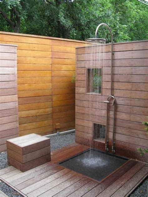 outdoor shower ideas   choose   material