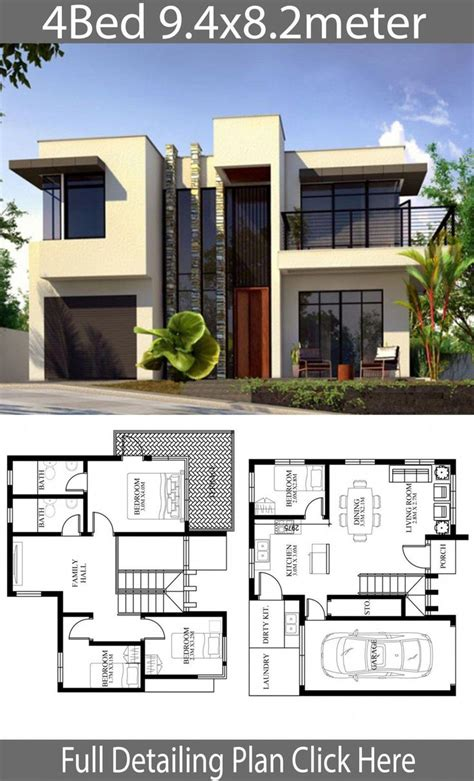 Small Home design plan 9 4x8 2m with 4 Bedrooms Home