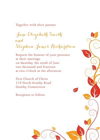 autumn foliage wedding invitation