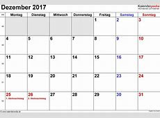 Kalender Dezember 2017 als ExcelVorlagen
