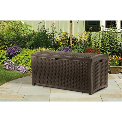 suncast 73 gal deck box suncast resin wicker 73 gallon deck box walmart