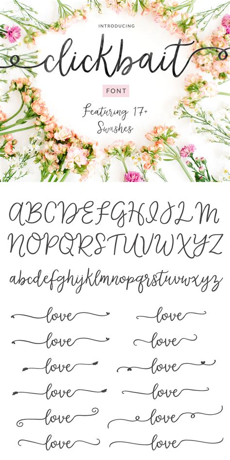 Clickbait Cute Swash Calligraphy Font - Full Version ...