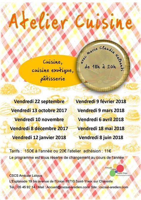 affiche atelier cuisine cscs amicale laïque de yrieix une association pour tous