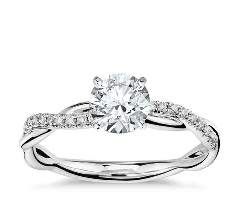 twist diamond engagement ring in 14k white gold 1 10 ct tw blue nile