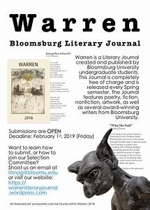 Warren  Bloomsburg U0026 39 S Literary Journal  Is Looking For