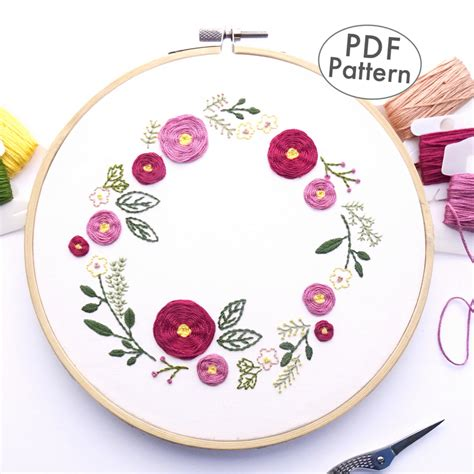 spring wreath hand embroidery pattern wandering threads