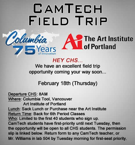 camtech field trip camas high school