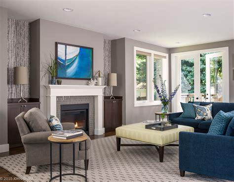 blue grey color scheme  transitional living room