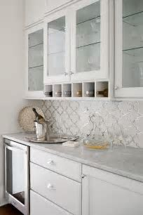 White and Silver Arabesque Tiles   Transitional   Kitchen