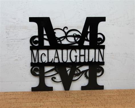fancy split letter monogram sign  bushy scrolls steel monogram sign madison iron  wood