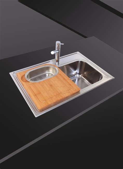 inset polished stainless steel kitchen sink  chopping
