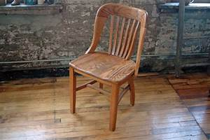 Vintage, Wooden, Oak, Library, Chair, Bankers, Chair, Courthouse