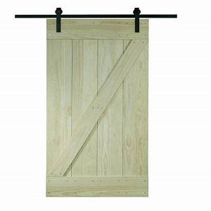 pinecroft 38 in x 81 in wood barn door with sliding door With 38 inch barn door