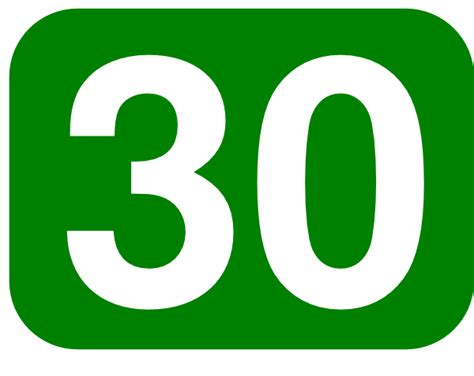 Green Rounded Rectangle With Number 30 Clip Art Free