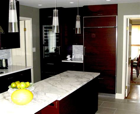 grey  white marble countertops  dark wood cabinets