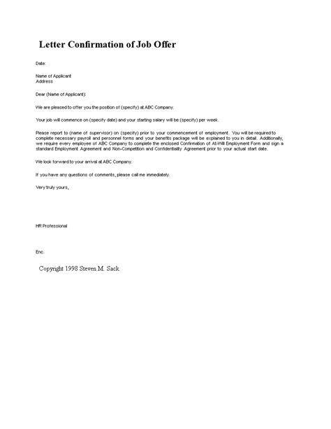 letter confirmation  job offer templates
