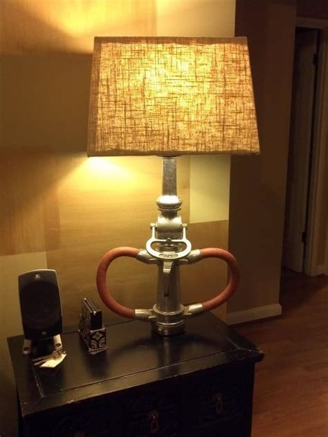 lamp made from vintage fire truck nozzle and textured