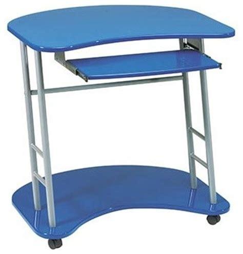 computer desk on wheels kool kolor cobalt blue computer desk with caster wheels