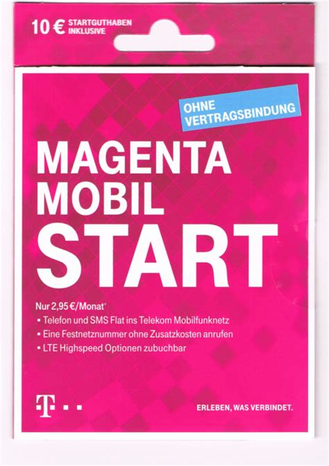 telekom magenta start xtra mobil prepaid handy sim karte