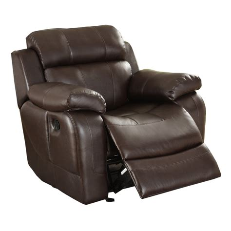 brown leather recliner chair homelegance marille rocking reclining chair in brown