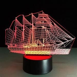 Creative 3D Sailboat LED Night Light Lamp 7 Colorful ...
