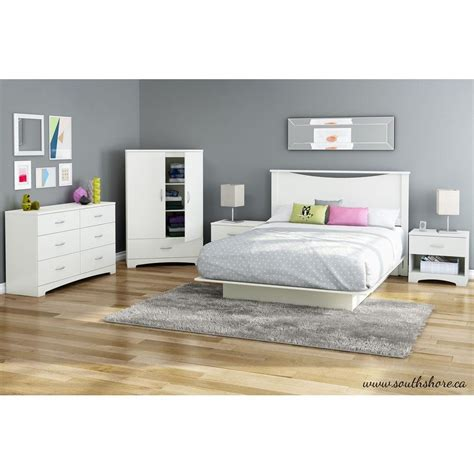 25660 white platform bed south shore step one size platform bed in white