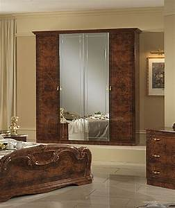 Italian high gloss walnut bedroom furniture set homegenies for Italian high gloss furniture