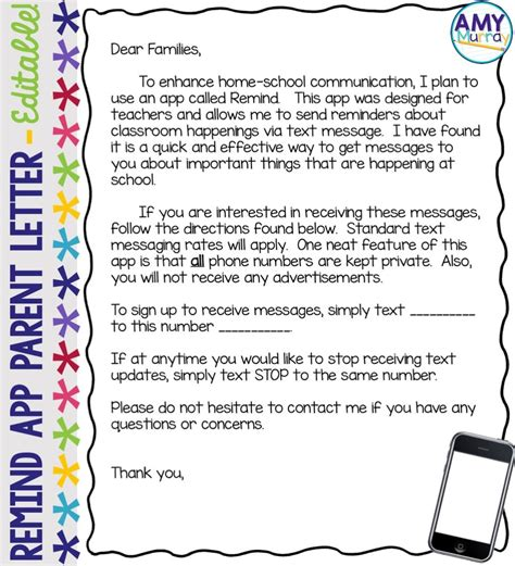 Mass sms service from atompark makes it easy to send text updates and alerts to thousands of students, parents, and teachers. Parent Communication App Editable Letter Template   Letter ...