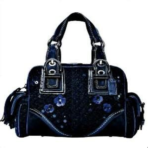 coach midnight blue small tweed floral sequin tote bag purse satchel  ebay