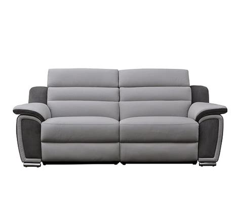canap 233 2 places 2 relax 233 lectrique wow cuir micro gris clair