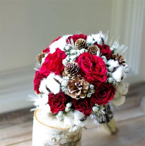 wed  winter dried flower bouquet preserved red roses
