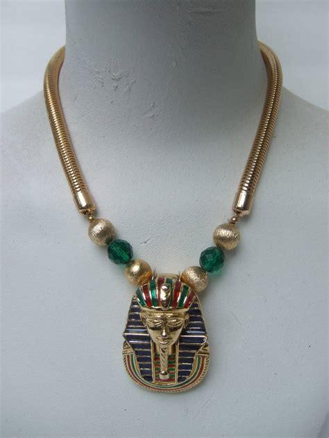 Egyptian Style Gilt Enamel Pharaoh Choker Necklace at 1stdibs