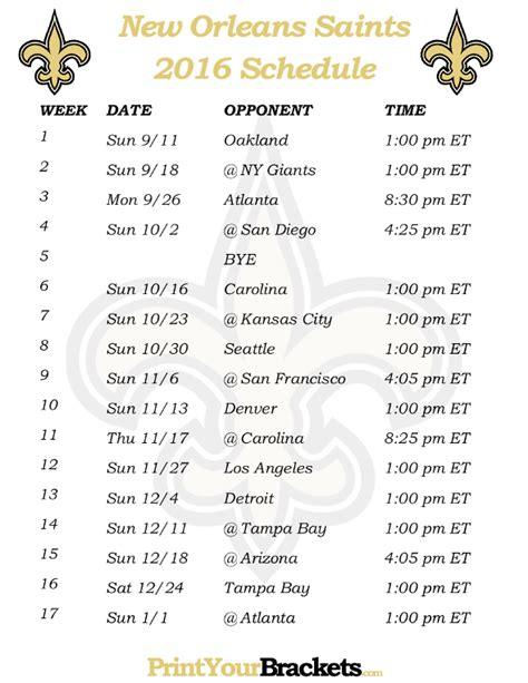 orleans saints printable schedule