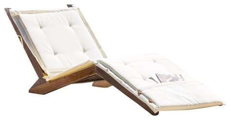 midori mahogany wood folding chaise lounger chair w