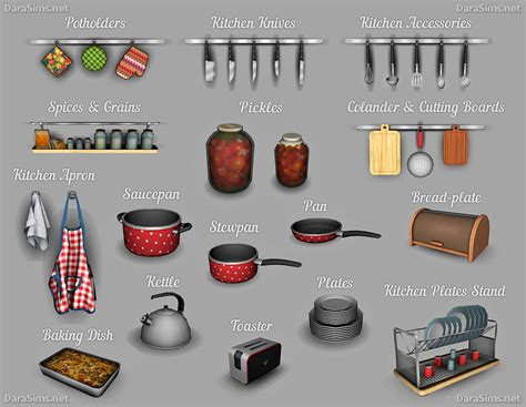 kitchen accessories sets kitchen decor set the sims 4 darasims net 2147