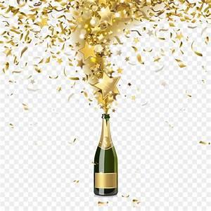 Champagne Bottle Confetti Illustration Festival