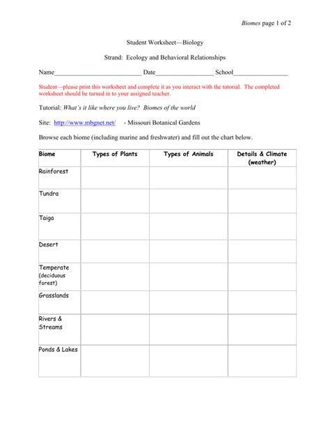 student worksheet for biomes