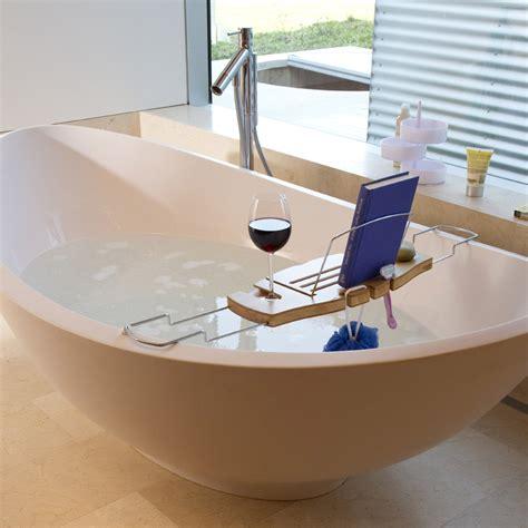 umbra bamboo and chrome shelf bathtub caddy reading book