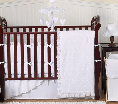 lace crib bedding white baby bedding set white eyelet by jojo only 189 99