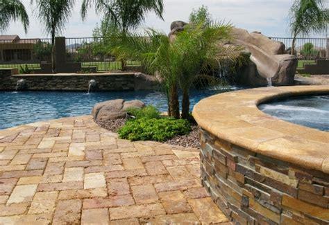backyard tile ideas travertine patio tile