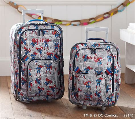 pottery barn suitcase superman rolling luggage pottery barn