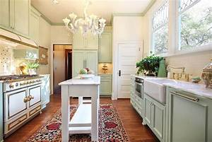 Galley style kitchen victorian with green cabinets wooden for Kitchen colors with white cabinets with sesame street wall art