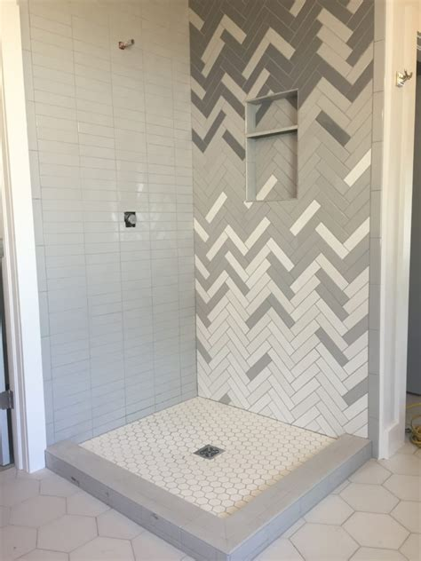 ombre herringbone shower cbc builds