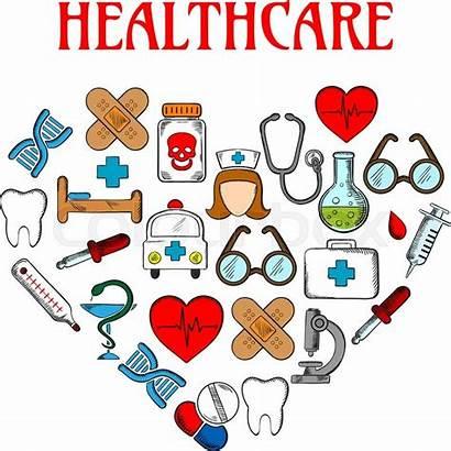 Medical Equipment Heart Nurse Icons Form Healthcare