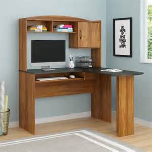 mainstays l shaped desk with hutch and leather mid back chair value bundle walmart