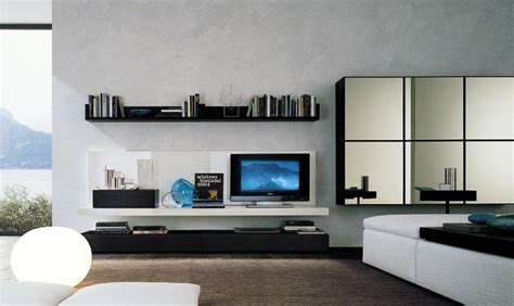 futuristic bedroom set with suspended media center design ideas for living room