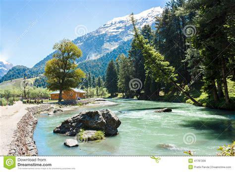 betaab valley lidder river beautiful kashmir stock image